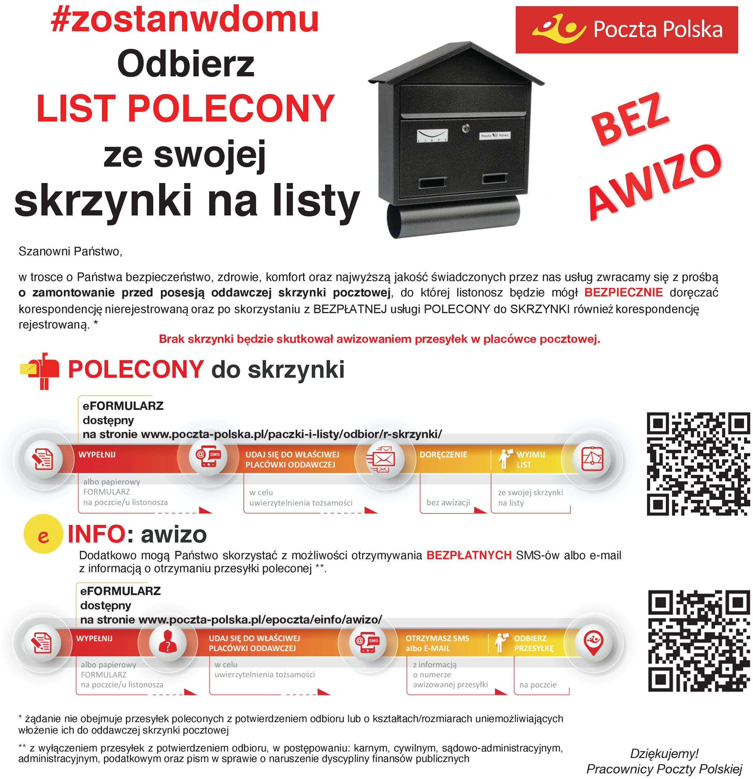 Poczta Polska - Informacje o skrzynce oddawczej