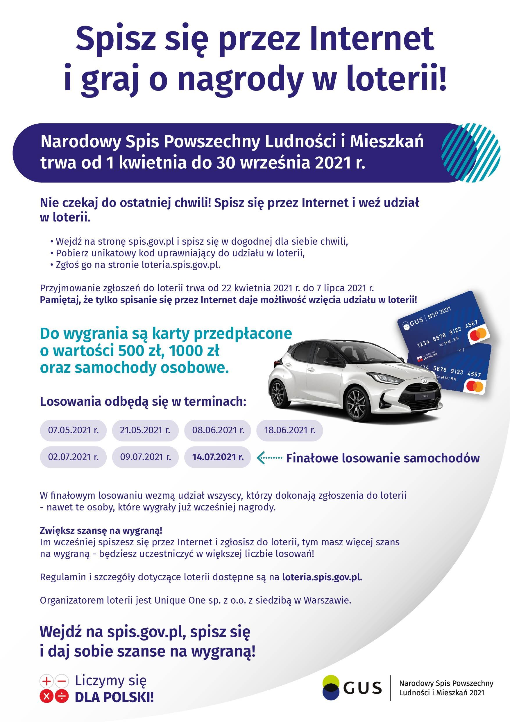 Informacja promocyjna dotycząca loterii z nagrodami przy NSP 2021